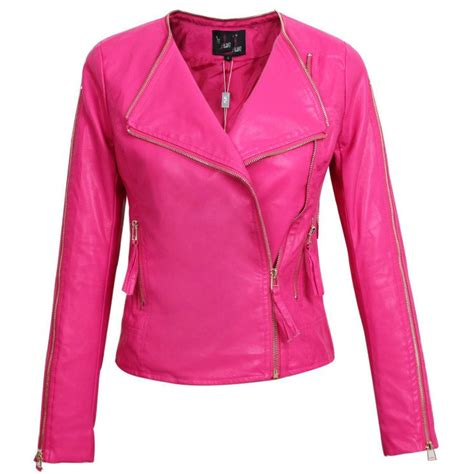 Parka Pink Mc T1310 leather jacket new autumn slim faux leather pu