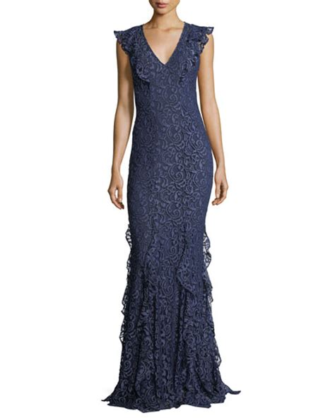 V Neck Lace Evening Gown zac zac posen josephine v neck ruffled lace evening gown
