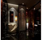Dark Luxurious Bathroom With Marble Floor 3D Model Max