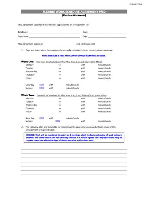 Fillable Flexible Work Schedule Agreement 9 80 Template Printable Pdf Download 9 80 Work Schedule Template