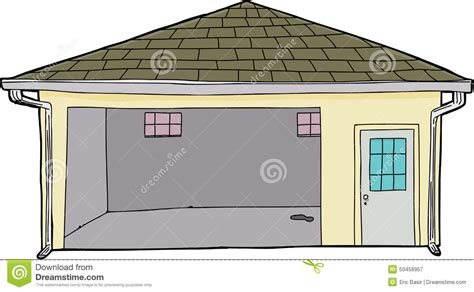 garage cartoon isolated single open garage stock illustration image