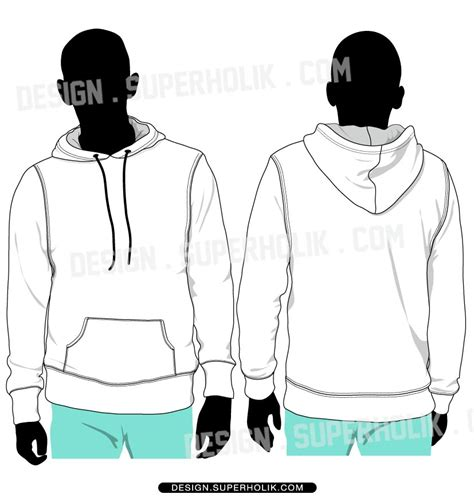 hoodie template pullover hoodie vector set model flat fashion vector