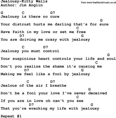 jealousy lyrics country jealousy lyrics and chords