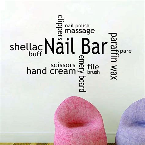 Buy Nail by Aliexpresscom Buy Nail Bar Vinyl Wall Decal Nail