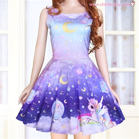 Your Budget With These Con Galaxy Style Dresses by Galaxy Unicorn Kawaii Skater Dress And Skirt Sd6