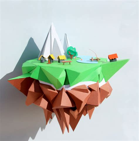 Papercraft Design And With Paper - floating island mjulien freelance papercraft graphic design