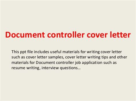 Command Post Controller Cover Letter by Document Controller Cover Letter
