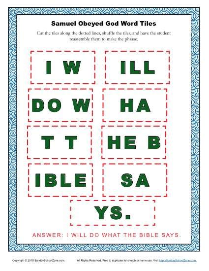 samuel obeyed god word tiles childrens bible activities sunday school lessons  kids