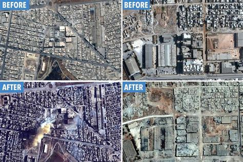 syria before and after incredible satellite images show the staggering scale of