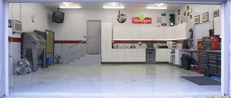 finished garage with light gray walls garage interiors