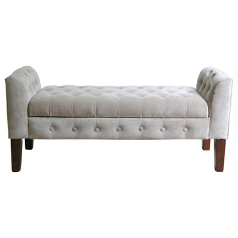 velvet tufted settee storage bench