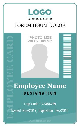 employee id card template editable 10 amazing employee vertical size id cards for free