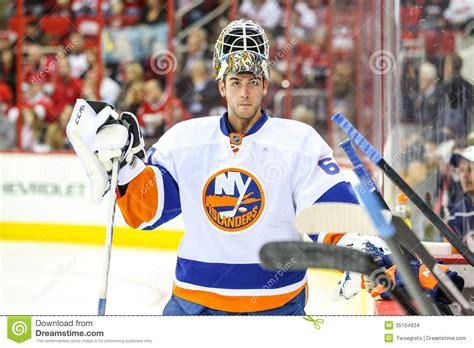 Travis Bench New York Islanders Goalie Kevin Poulin Editorial Stock