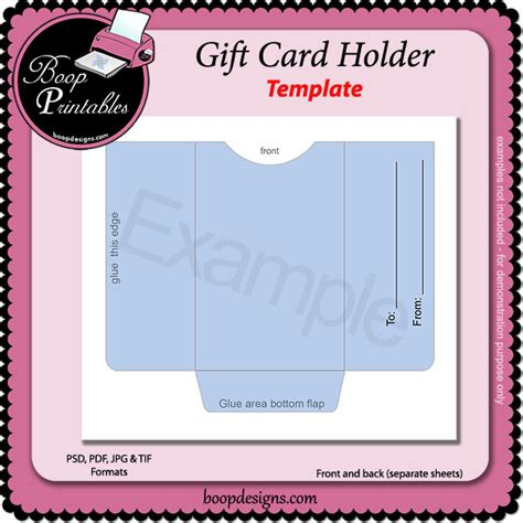 gift card templates for pages gift card holder template by boop printable designs bp