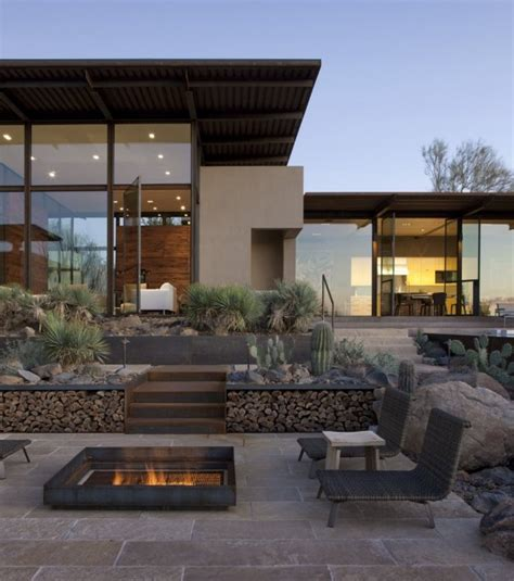 desert contemporary architecture brown residence transparent designed to take on
