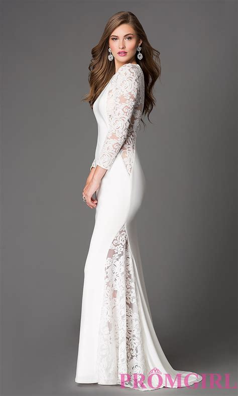 white wedding gowns with sleeves xcite sleeve lace illusion dress promgirl