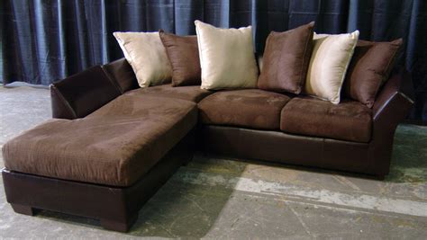 Brown Leather And Suede Sofa With Right Chaise And Ivory