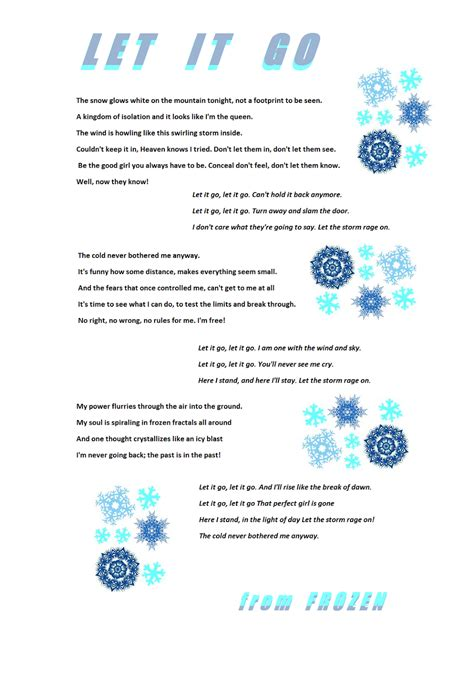 printable lyrics let it go let it go quot from frozen