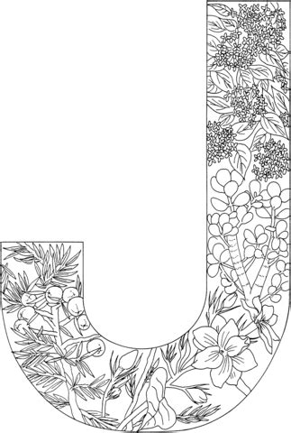 Letter J With Plants Coloring Page Free Printable