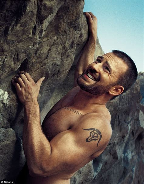 manhood the bare reality avengers star evans shows off his action man muscles as he goes rock climbing for magazine