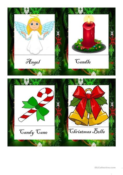 printable christmas flashcards christmas vocabulary flashcards doc worksheet free esl