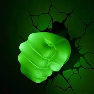 Marvel Room Decor Marvel Avengers Hulk Fist 3d Led Wall Light New Stickers