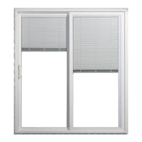 Mini Blinds For Patio Doors Jeld Wen 72 In X 80 In White Left Premium Sliding Patio Door With Tilt And Raise Mini