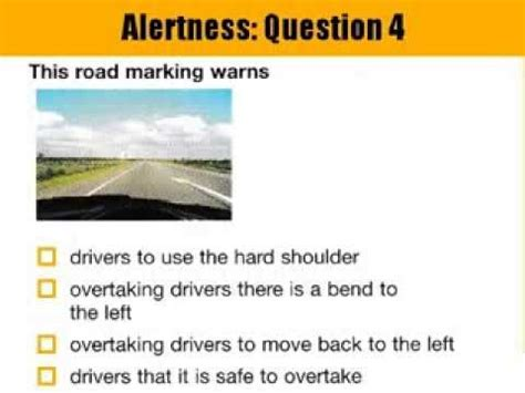 driving theory test sections quot section 1 alertness driving theory test questions and