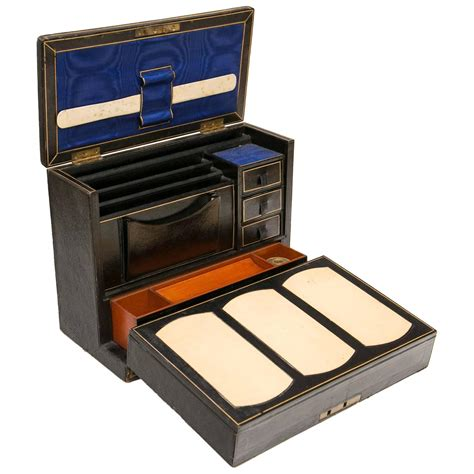 Decorative Desk Accessories Sets by Period Leather Travelling Writing For Sale