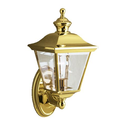 polished brass outdoor lighting shop kichler bay shore 20 in h polished brass outdoor wall