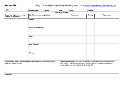technology lesson plan template design technology engineering teaching resources