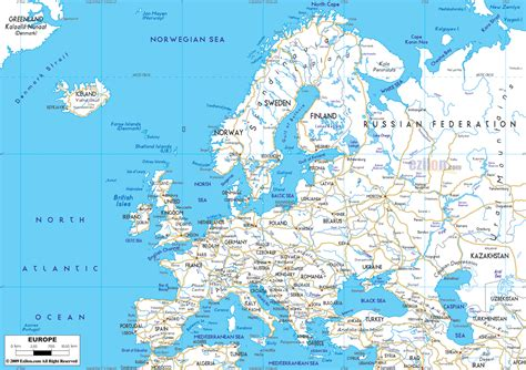 Printable European Road Map | maps of europe map of europe in english political
