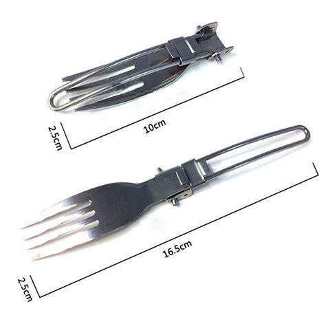 Pisau Stainless Steel sendok garpu pisau lipat portabel stainless steel silver