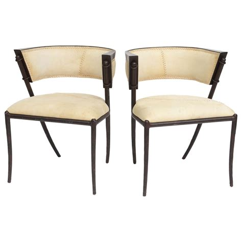 modern klismos chair pair of italian modern klismos form bronze and leather