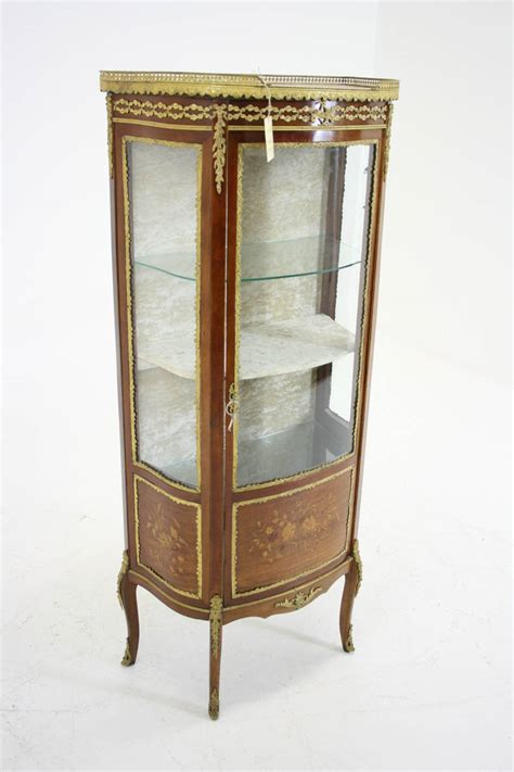 antique ormolu inlaid marquetry vitrine china