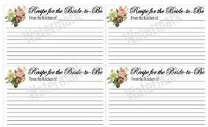 bridal shower recipe cards printable by kjones4099 on etsy