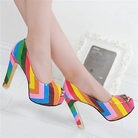 colorful pumps leather rainbow colorful high heel shoes multi color