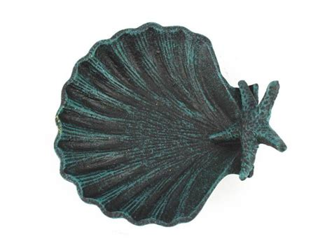 beach home decor wholesale buy seaworn blue cast iron shell with starfish decorative