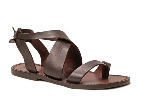 Handmade Italian Sandals - sandals in brown leather handmade in italy