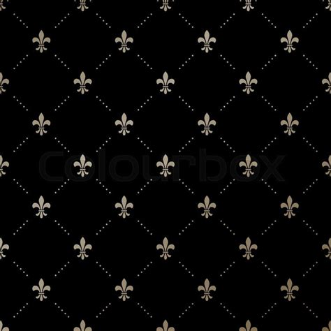 Retro Vintage Home Decor by Seamless Vector Gold Pattern With Fleur De Lis On A Black