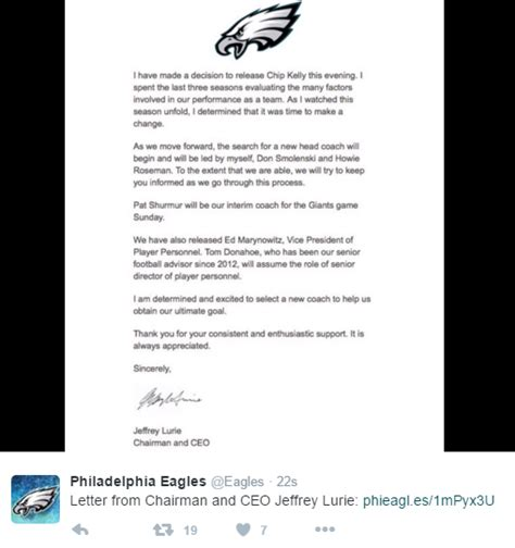 Release Letter For Player jeffrey lurie informed season ticket holders of the news at the exact same time a press release