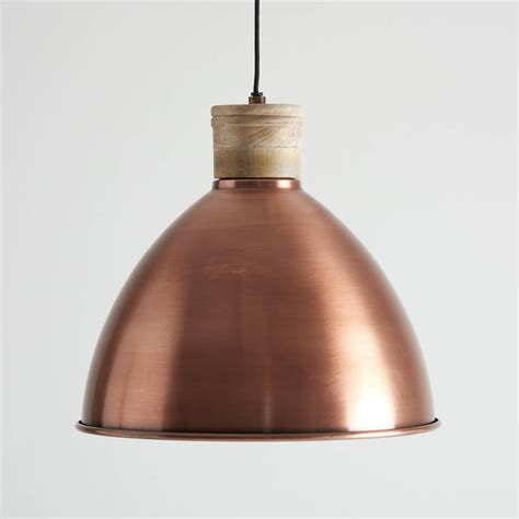 Pendant Light Wood Antique Copper And Wood Pendant Light By Horsfall Wright Notonthehighstreet