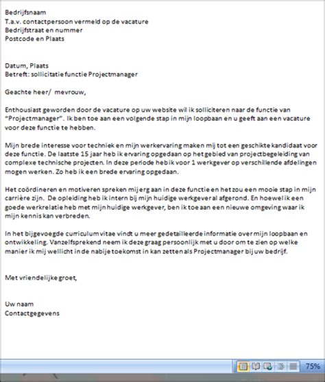 layout motivatiebrief email de opmaak sollicitatiebrief of email