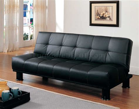 Vinyl Sofa Bed 4791pu Sofa Bed Convertible In Black Vinyl By Homelegance