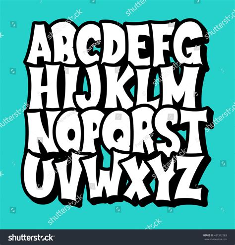 beautiful graffiti font design vector comic alphabet graffiti vector font stock vector 481312183