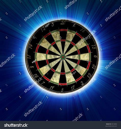 clip on dartboard light darts board on light blue background stock illustration