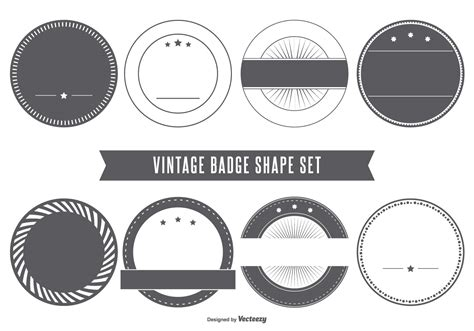 blank vintage badge shapes   vector art