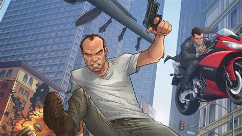 full hd wallpaper gta 5 main characters gun movement