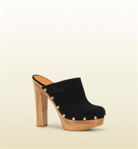 platform clogs for gucci joplin high heel platform clog in black lyst