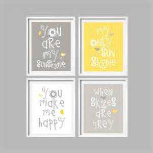 sale yellow and grey wall nursery decor prints by